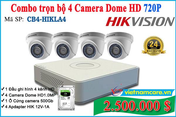 Combo Trọn bộ 4 Camera Dome Hikvision 1.0Mp