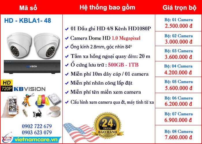 lắp đặt trọn bộ camera quan sát kbvision giá rẽ tại tphcm