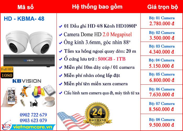 Bảng giá lắp đặt trọn bộ  Camera Dome HD 2.0 Megapixel