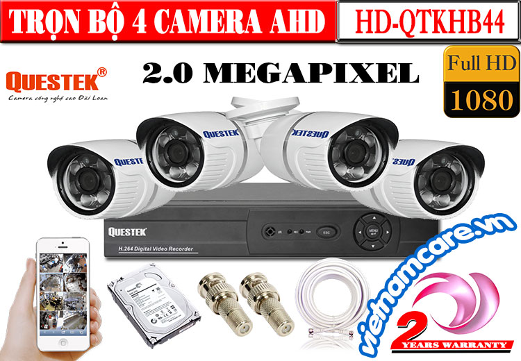 Trọn Bộ 4 Camera AHD 2.0 Mp Questek HD-QTKHB44