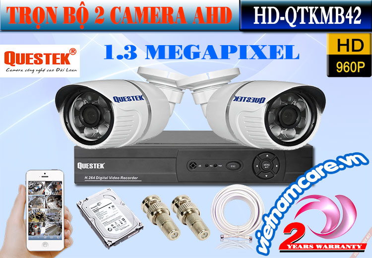 Trọn Bộ 2 Camera AHD 1.3 Mp Questek  HD-QTKMB42