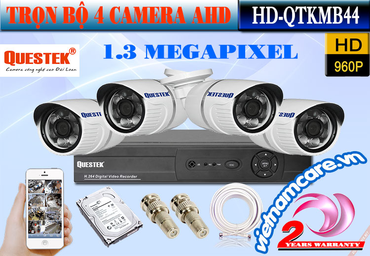 Trọn Bộ 4 Camera AHD 1.3 Mp Questek HD-QTKMB44