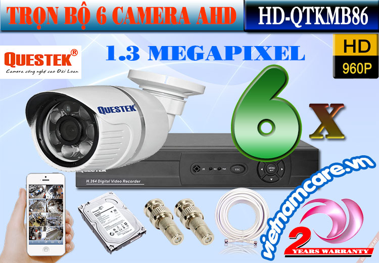 Bộ 6 Camera AHD 1.3 Mp Questek HD-QTKMB86
