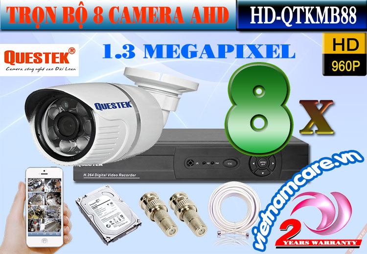 Bộ 8 Camera AHD 1.3 Mp Questek HD-QTKMB88