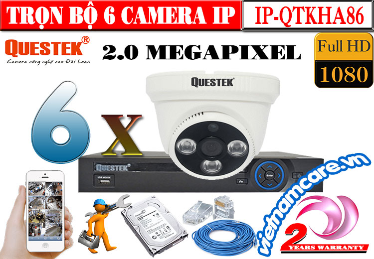 TRỌN BỘ 6 CAMERA Dome IP QUESTEK 2.0 MEGAPIXEL