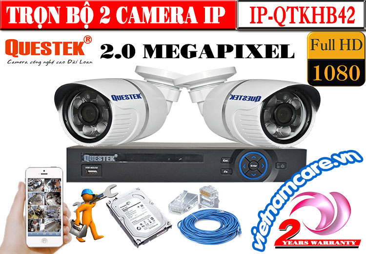 TRỌN BỘ 2 CAMERA IP QUESTEK 2.0 MEGAPIXEL