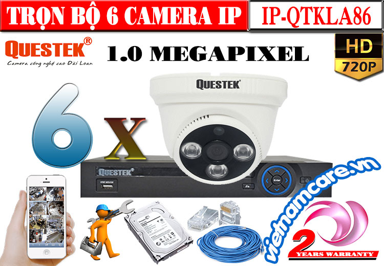 TRỌN BỘ 6 CAMERA Dome IP QUESTEK 1.0 MEGAPIXEL
