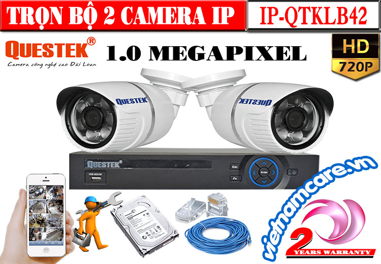 TRỌN BỘ 2 CAMERA IP QUESTEK 1.0 MEGAPIXEL
