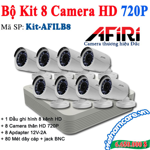 BỘ KIT 8 CAMERA HD AFIRI KIT-AFILB8