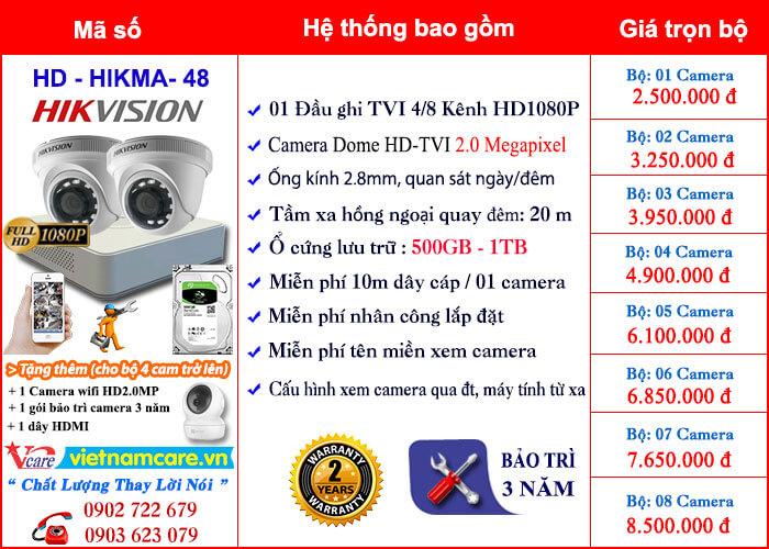 g Giá lắp đặt trọn bộ camera dome hồng ngoại thông dụng