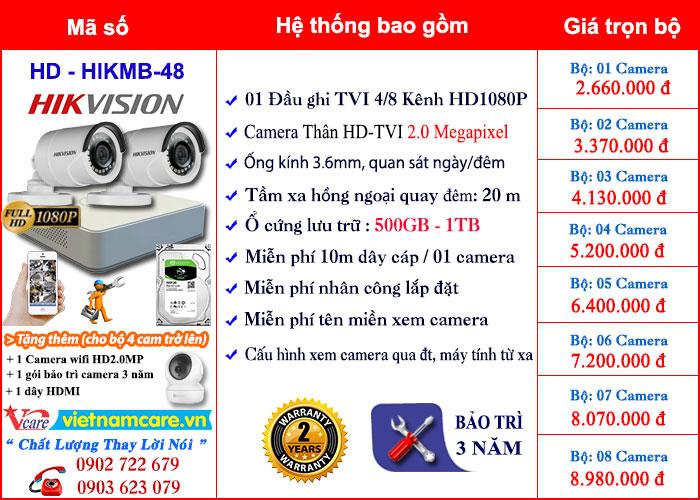 Bảng giá lắp đặt camera Thân HD 2.0Mp thông dụng