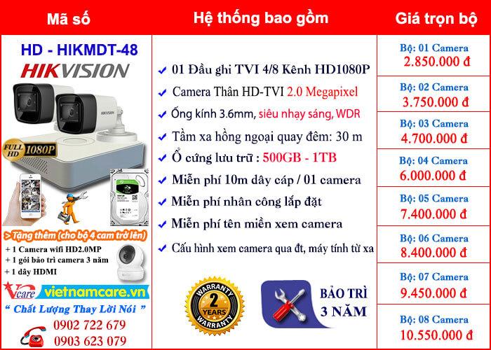 Bảng giá lắp đặt camera thân HD 2.0Mp chống ngược sáng