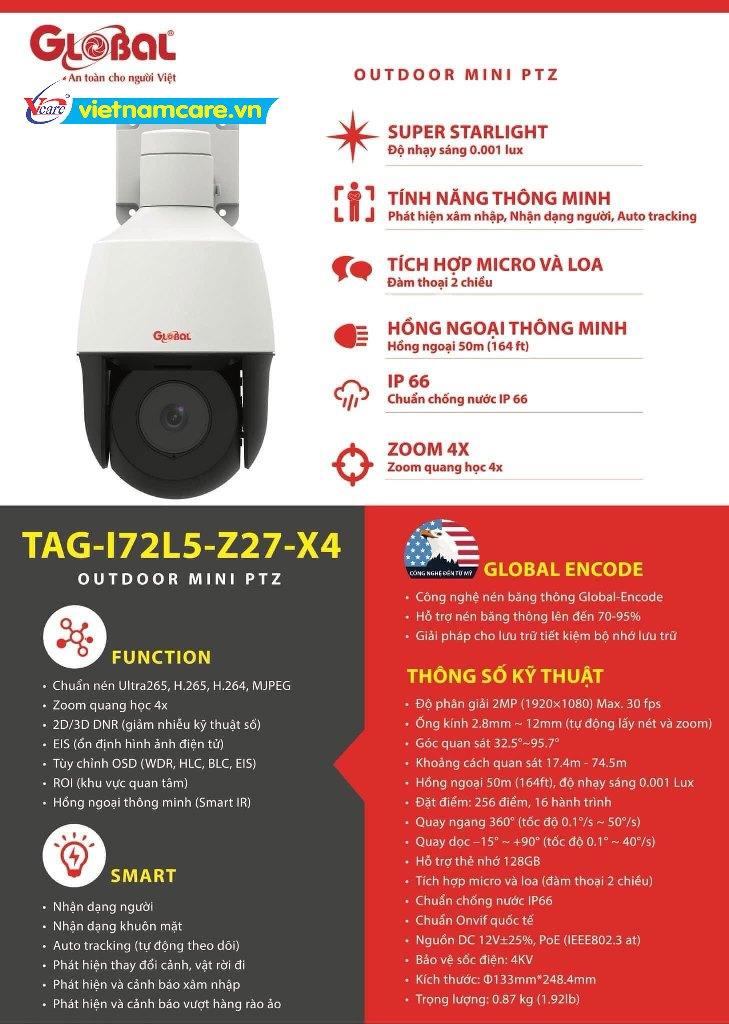 Camera IP Speed Dome mini HD 2M Global TAG-I72L5-Z27-X4