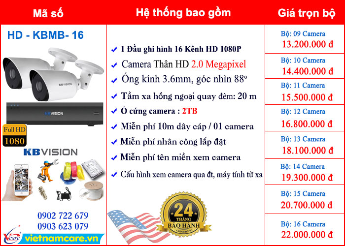 TRỌN BỘ CAMERA KBVISION HD 2.0 Megapixel